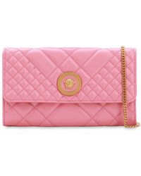 Versace Icon レザーショルダーバッグ - ピンク