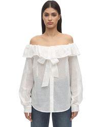 Pushbutton オフショルダーコットンアイレットシャツ - ホワイト
