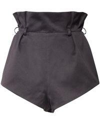 Alexandre Vauthier Short En Satin De Coton Taille Haute - Noir