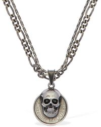 Alexander McQueen Skull & Logo Coin Double Chain Necklace - Metallic