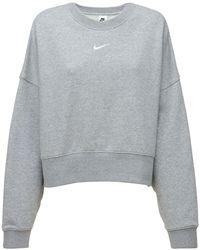 Nike Sweat-shirt En Molleton De Coton Mélangé Brossé - Gris