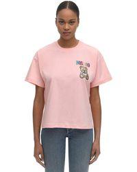 Moschino Футболка С Логотипом Из Кристаллов - Розовый