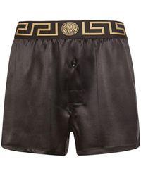 Versace Shorts Aus Seidensatin Mit Medusa - Schwarz