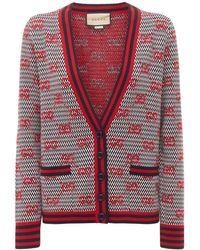 Gucci Кардиган Из Шерстяного Трикотажа С Логотипом - Красный