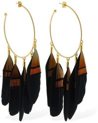 Mercedes Salazar Chaman Feather Big Hoop Earrings - Schwarz
