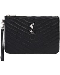 Saint Laurent - Quilted Monogram Leather Pouch - Lyst