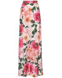 Dolce & Gabbana Брюки Из Шелка С Принтом - Розовый