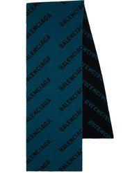 Balenciaga Schal Aus Wollmischung Mit Logo - Blau