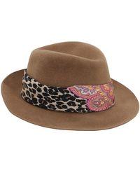 Etro Rabbit Feltro Hat W/ Printed Silk Band - Natural