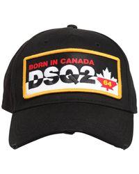 DSquared² Patch Cotton Canvas Baseball Hat - Black