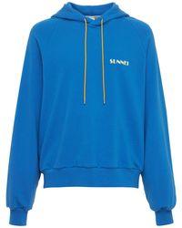 Sunnei Sweat-shirt En Coton Imprimé Logo À Capuche - Bleu