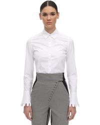 Coperni Cotton Poplin Cropped Shirt - White