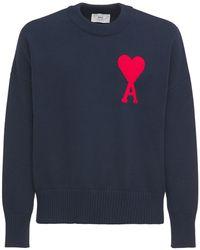 AMI コットン&ウールニットセーター - ブルー