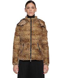 Moncler Пальто-пуховик Bady С Леопардовым Принтом - Коричневый