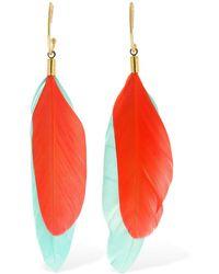 Mercedes Salazar Chaman Feather Charm Hoop Earrings - Multicolour