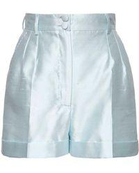 Dolce & Gabbana High Waist Mikado Silk Shorts - Blue