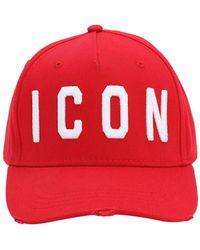 """DSquared² Gorra De Baseball """"Icon"""" De Algodón - Rojo"""