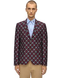 Gucci Jacke Aus Wolle Und Baumwolle Mit Gg-logo - Blau