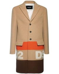 DSquared² - Жаккардовое Пальто Из Шерсти - Lyst