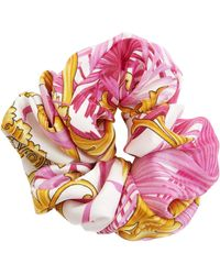 Versace Barocco Print Silk Scrunchie - Pink