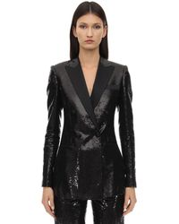 Elie Saab Sequined Double Breasted Blazer - ブラック