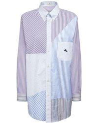 Etro Patchwork コットンポプリンシャツ - ブルー