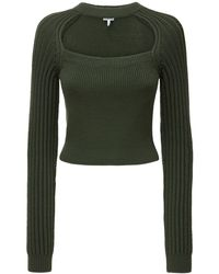 Loewe ウールブレンドリブニットクロップドセーター - グリーン