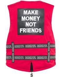 MAKE MONEY NOT FRIENDS Weste Mit Gürteln Und Logo - Rot