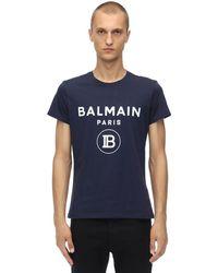 Balmain - T-shirt Aus Baumwolljersey Mit Beflocktem Druck - Lyst
