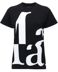 Maison Margiela Футболка Из Хлопкового Джерси С Принтом Логотипа - Черный