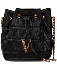 Versace Versus キルテッドナッパバケットバッグ - ブラック