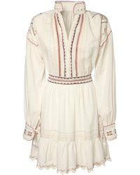 Etro Платье Из Хлопка С Вышивкой - Белый