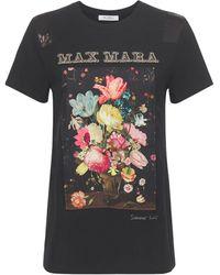 Max Mara Printed Cotton Jersey W/silk Panel - Black