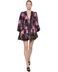 BROGNANO Floral Print Nylon Mini Dress - Black