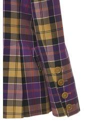 Vivienne Westwood Loulou Tartan Wool & Cotton Jacket - Purple