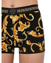 Versace Shorts Aus Stretch-jersey Mit Druck - Schwarz