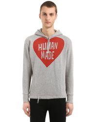 Human Made Sudadera De Algodón Con Logo Corazón Y Capucha - Gris