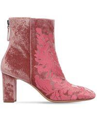 Alexandre Birman 70mm Regina Floral Velvet Boots - Pink