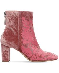 Alexandre Birman 70mm Regina 花柄ベルベットブーツ - ピンク