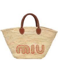 Miu Miu Bolso Tote De Paja Con Logo - Neutro