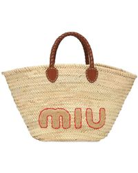 Miu Miu Tote Aus Stroh Mit Logo - Mehrfarbig