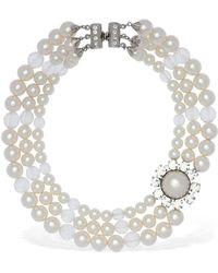 Alessandra Rich Crystal & Faux Pearl Wrap Necklace - Multicolor