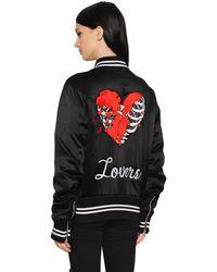 Amiri Lovers 刺繡入りサテンボンバージャケット - ブラック
