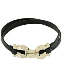 Ferragamo Gancio Double Wrap Leather Bracelet - Black
