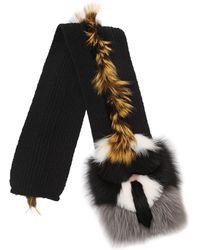 Fendi - Karlito Wool Knit & Fox Fur Scarf - Lyst