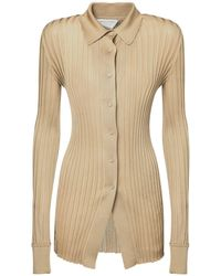Bottega Veneta Ribbed Lightweight Silk Shirt - Natural