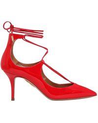 Aquazzura - 75mm Christy Patent Leather Court Shoes - Lyst