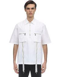 we11done Kurzärmliges Hemd Aus Baumwollpopeline - Weiß