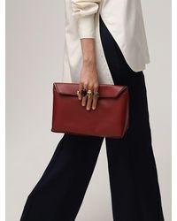 Alexander McQueen Мягкий Кожаный Клатч Four Rings - Красный