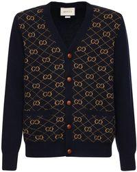 Gucci Jacquard-Cardigan mit V-Ausschnitt - Blau